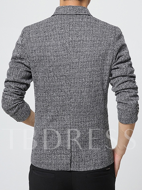 Notched Collar One Button Slim Fit Men's Sanding Blazer