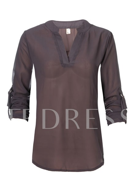 Plain V Neck Women's Blouse