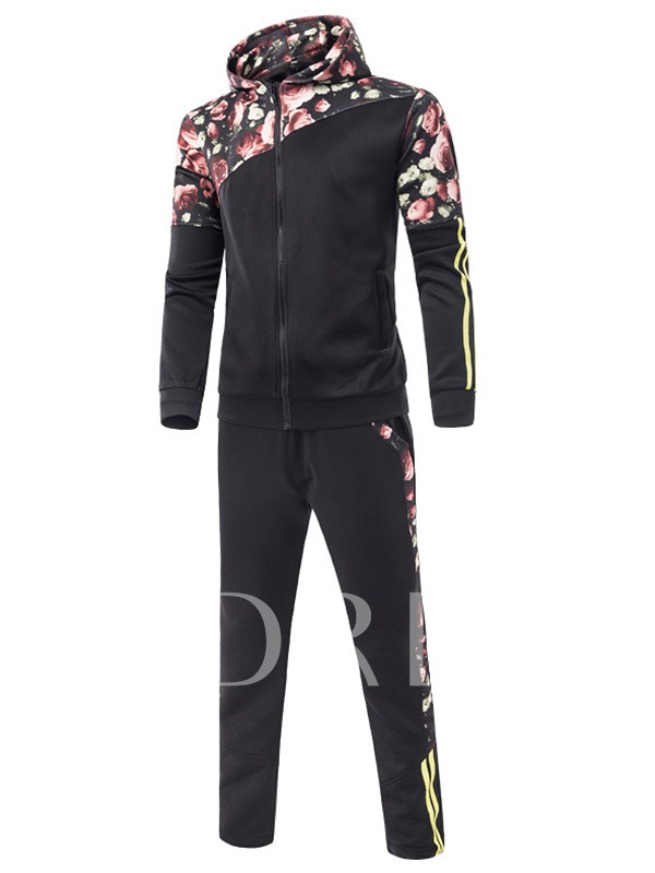 Floral Print Long Sleeve Zip Casual Men's Suit