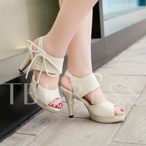 Peep Toe Lace-Up Plain Platform Awl Heel Strappy Women's Sandals