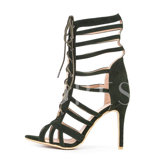 Stiletto Heel Cross Strap Open Toe Lace-Up Front Women's Sandals