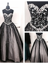 Sweetheart Rhinestone Beaded Ball Gown Evening Dress