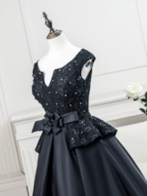 Cap Sleeves Beading Lace Tea-Length Evening Dress