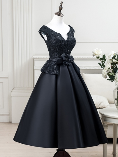 A-Line V-Neck Cap Sleeves Beading Lace Tea-Length Evening Dress