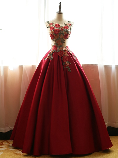 Scoop Ball Gown Embroidery Long Quinceanera Dress
