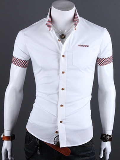 Men's T-shirt with Check Printed Collar