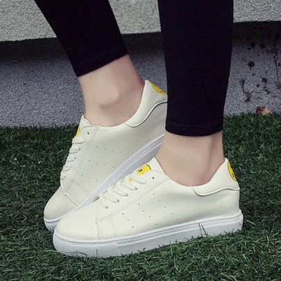 Round Toe Flat Heel Lace-Up Low Heel Women's Sneakers