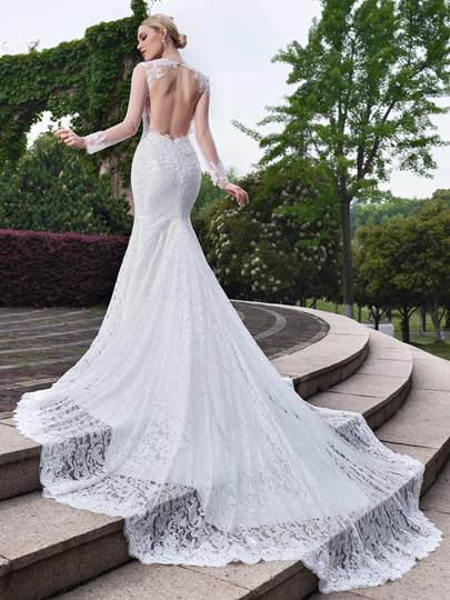Long Sleeve Open Back Lace Mermaid Wedding Dress