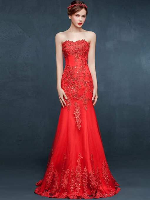 Sheath Sweetheart Appliques Beading Floor-Length Evening Dress