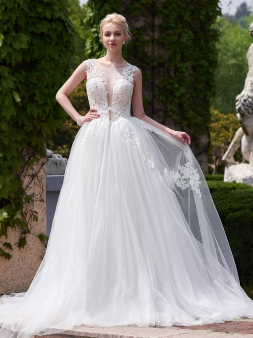 A-Line Open Back Scoop Neck Court Train Wedding Dress