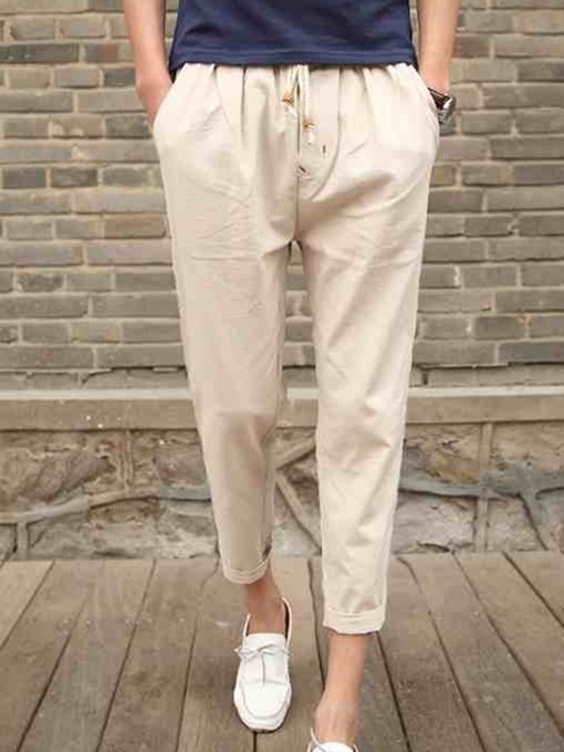 Lace-up Solid Color Linen Plain Casual Men's Pants