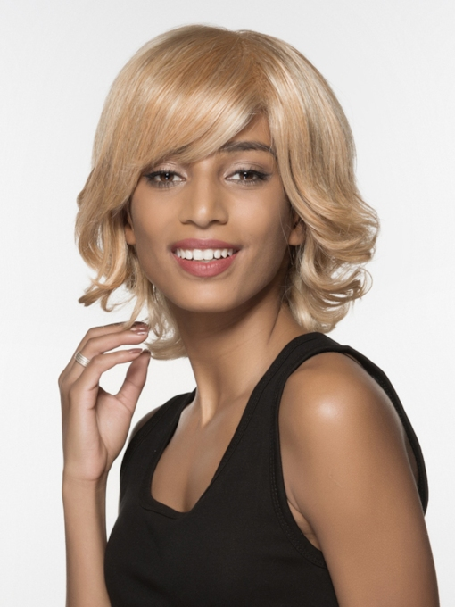 Elegant Medium Bottom Wave Capless Human Hair Wig 12 Inches