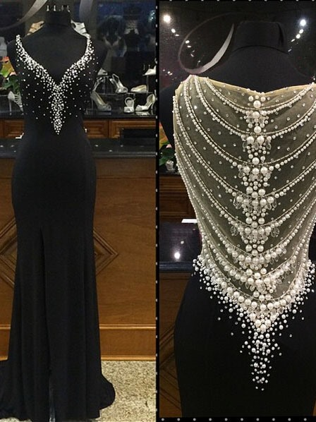 Mermaid Pearls V-Neck Beading Sweep Train Evening Dress