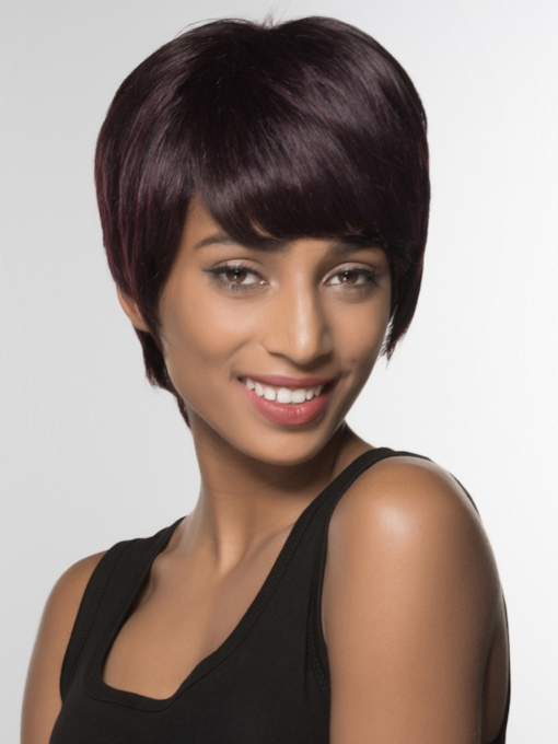 Short Straight Capless Human Hair Wig 6 Inches