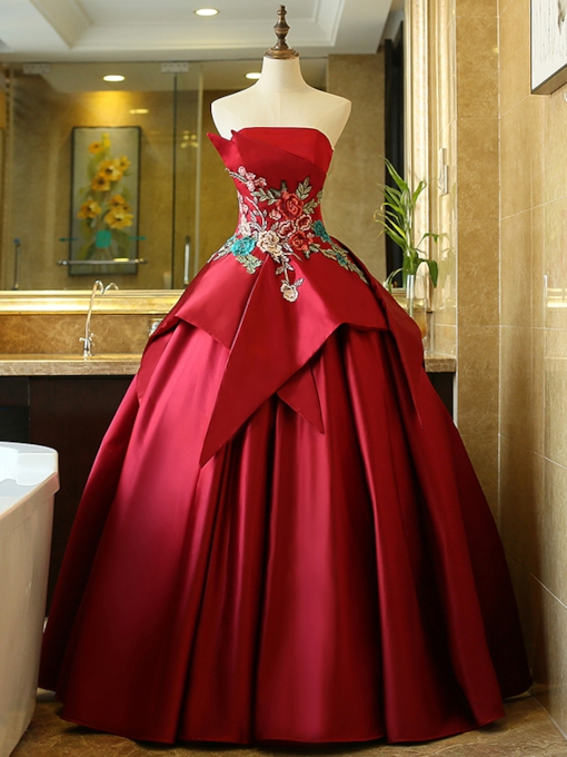 Strapless Tiered Embroidery Appliques Lace-Up Quinceanera Dress