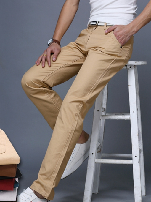 Mid Waist Solid Color Straight Slim Men's Leisure Pants