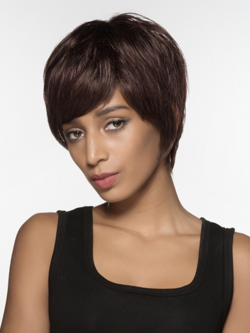 Beautiful Short Straight Capless Human Hair Wig 6 Inches