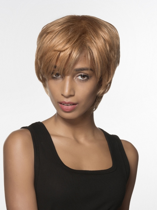 Unique Short Straight Human Hair Capless Wig 6 Inches
