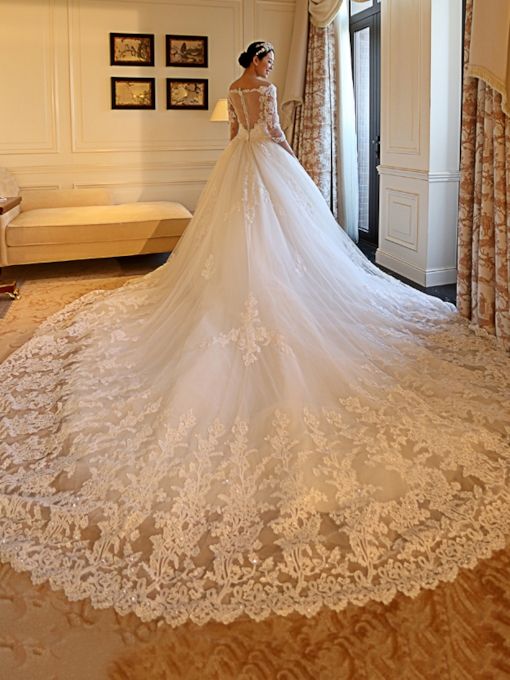 Off the Shoulder Sequins Appliques Wedding Dress with Sleeves