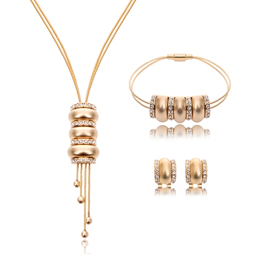 Transport Bead Golden Circle Three-Piece Jewelry Set
