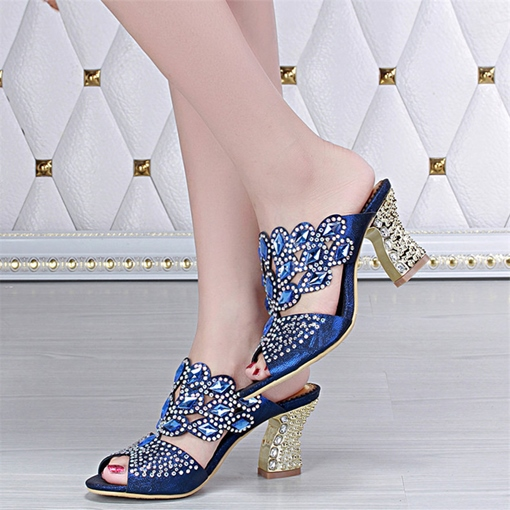 Rhinestone Slip-On Plain Horse-Shoe Heel Women's Sandals