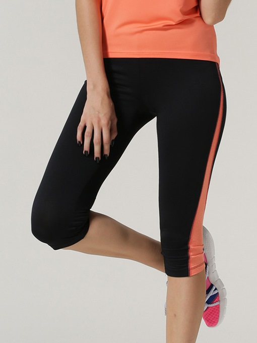 Orange Striped Side Casual Women's Running Capri Pants