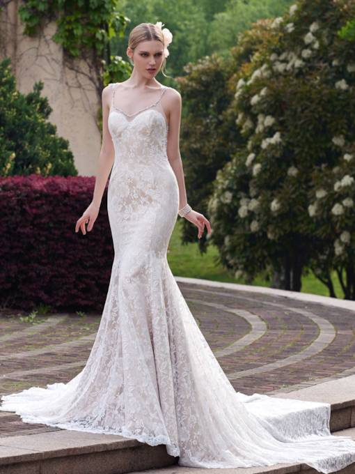 Spaghetti Strap Beading Mermaid Lace Wedding Dress