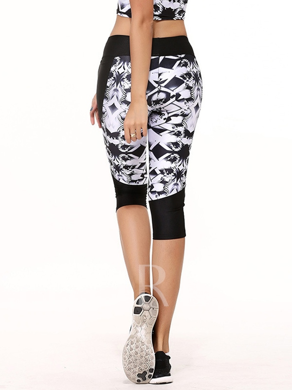Geometric Printed Polyester Elastic Lift Women's Yoga Leggings