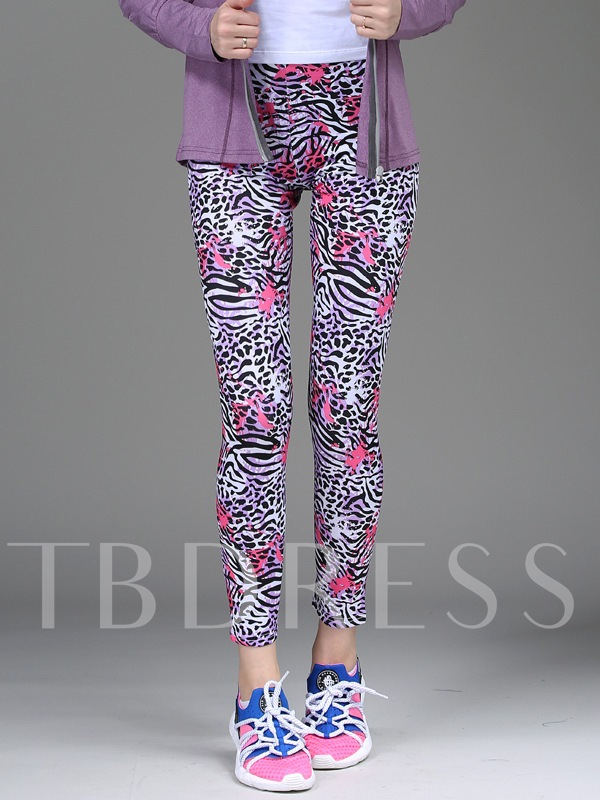 Leopard Printed High Springy Form-Fitting Women's Yoga Leggings