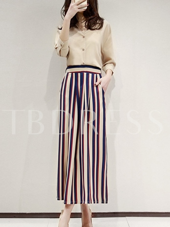 Casual Single-Breasted Stripe Women's Two Piece Set