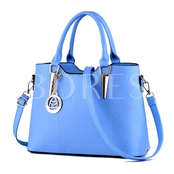Fashion Office Style Triangle Stitching Grain Zipper Women Tote Bag