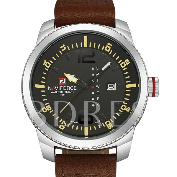 Waterproof Artificial Leather Multifunction Watch