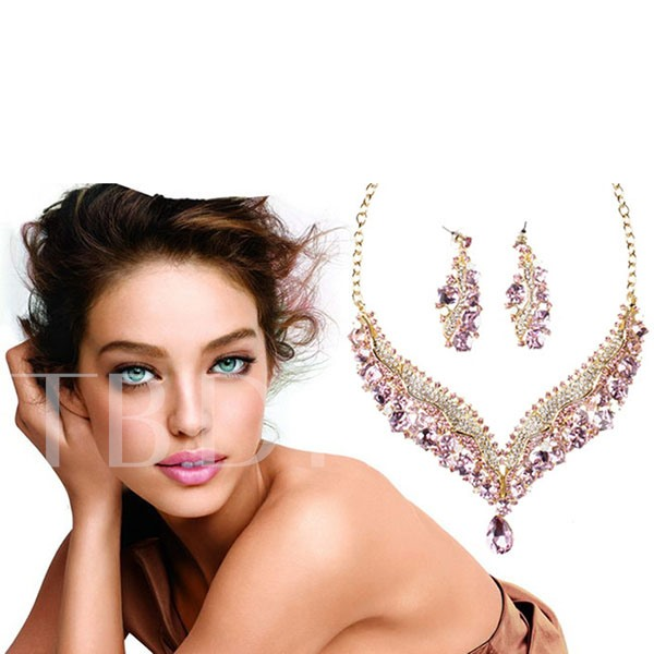 Pink Rhinestone Flower Jewelry Set