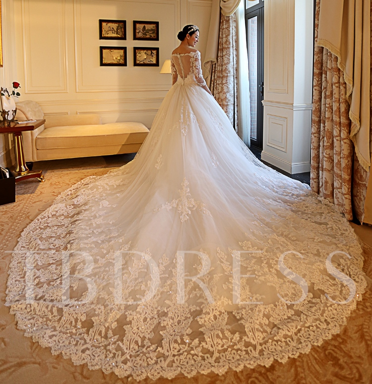 Sequins Appliques 3/4 Length Sleeves Wedding Dress