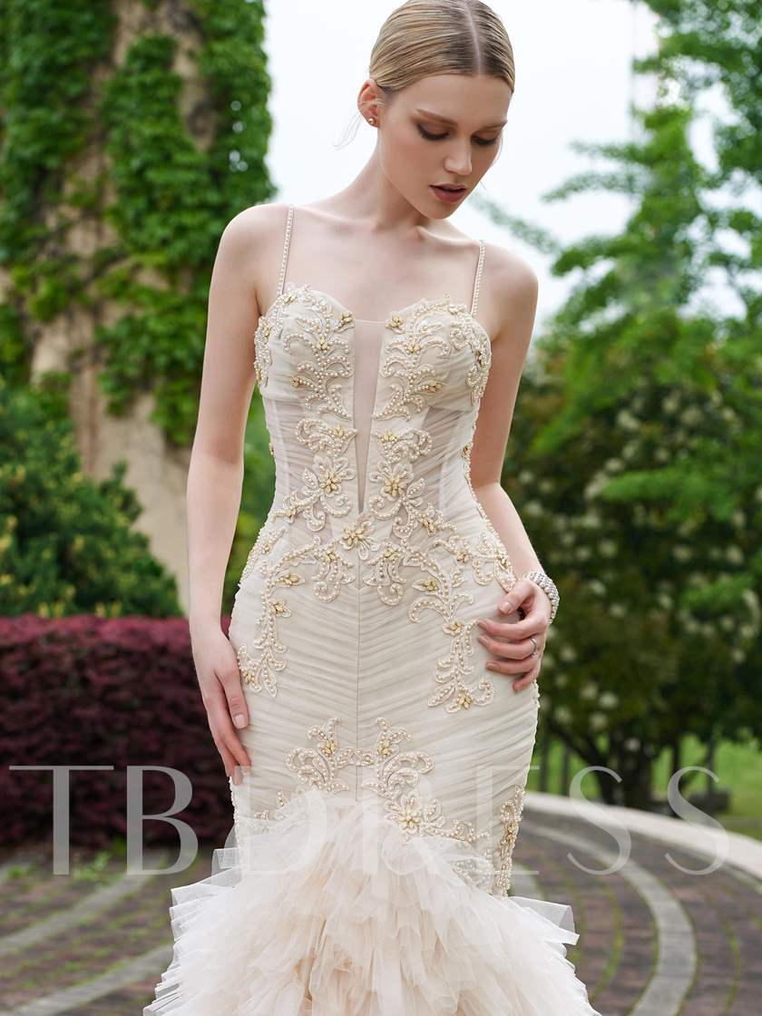 Ruffles Spaghetti Straps Appliques Beading Mermaid Wedding Dress