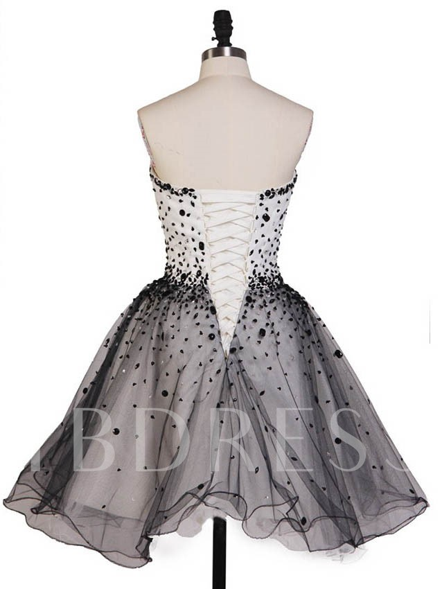 A-Line Sweetheart Beading Mini Lace Up Homecoming Dress