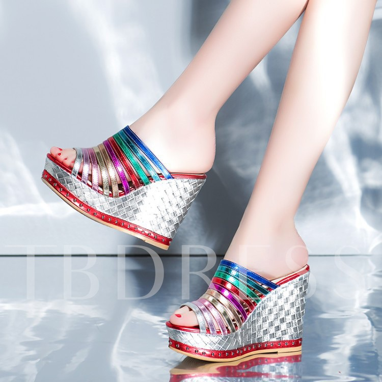 Slip-On Wedge Heel Color Block Patchwork Women's Sandals