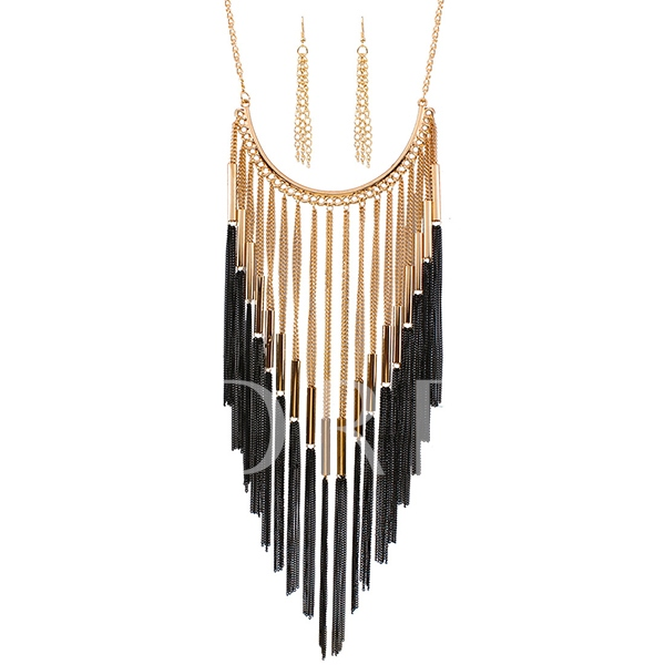 Alloy Tassel Necklace Earrings Jewelry Set