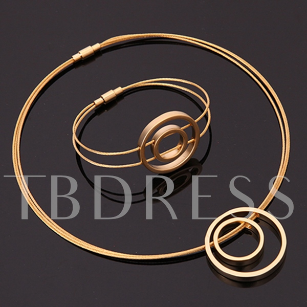 Double Loop Golden Three-Piece Jewelry Set