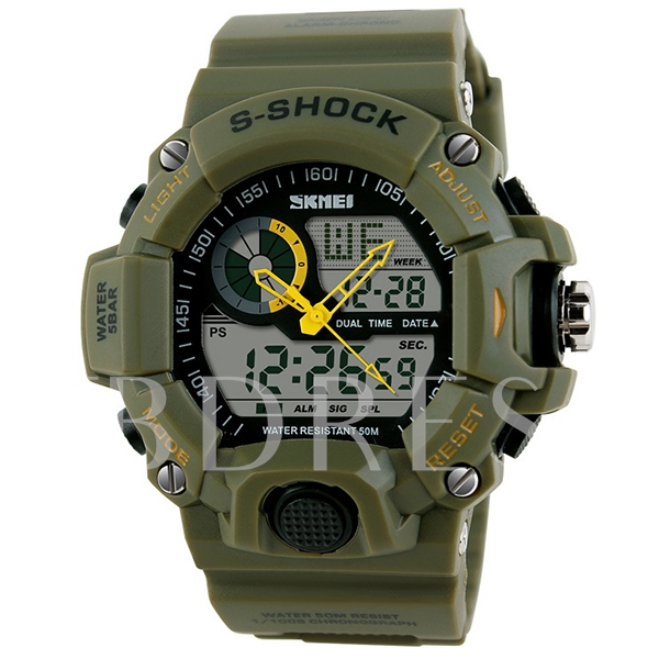 Double Show Waterproof Electronic Movement Men Watch