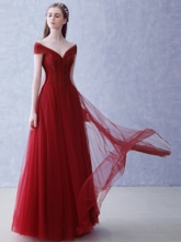 Off-the-Shoulder Tulle A-Line Beading Long Evening Dress