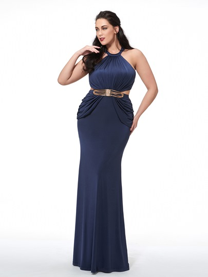 Halter Mermaid Beading Pleats Sashes Plus Size Evening Dress
