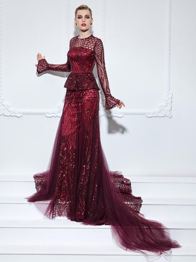 Long Sleeves Jewel Neck Trumpet Ruffles Sequins Court Train Evening Dress