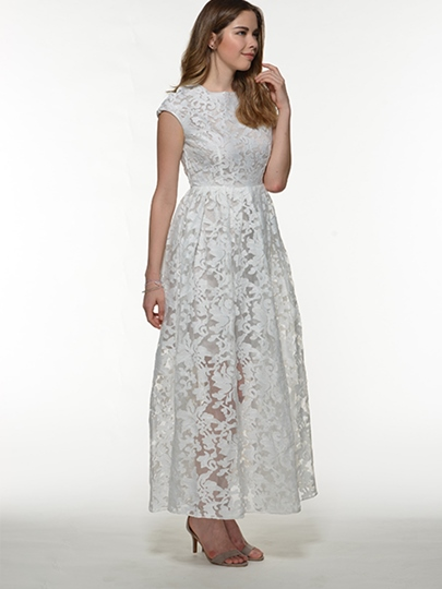White Short Sleeve Round Neck Lace Women's Maxi Dress (Plus Size Available)