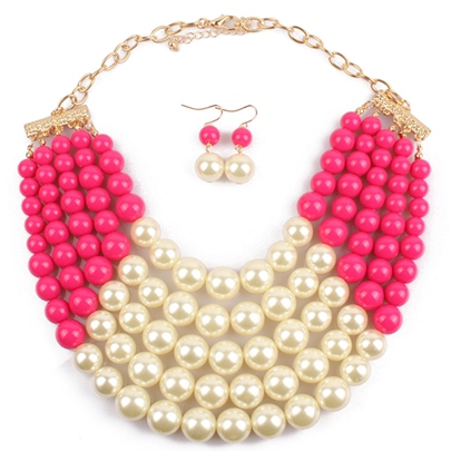 Color Beads Multilayer Necklace Jewelry Set