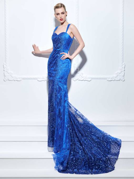Straps Court Train Mermaid Sequins Evening Dress