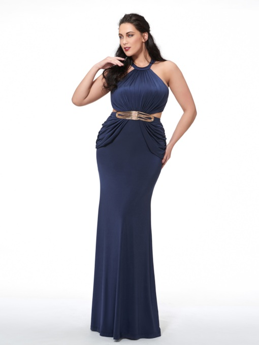 Halter Mermaid Beading Pleats Sashes Plus Size Evening Dress 554bc538ae98