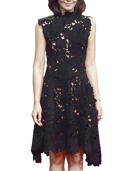 Sleeveless Asym Knee-Length Zipper Pleated Women's Lace Dress