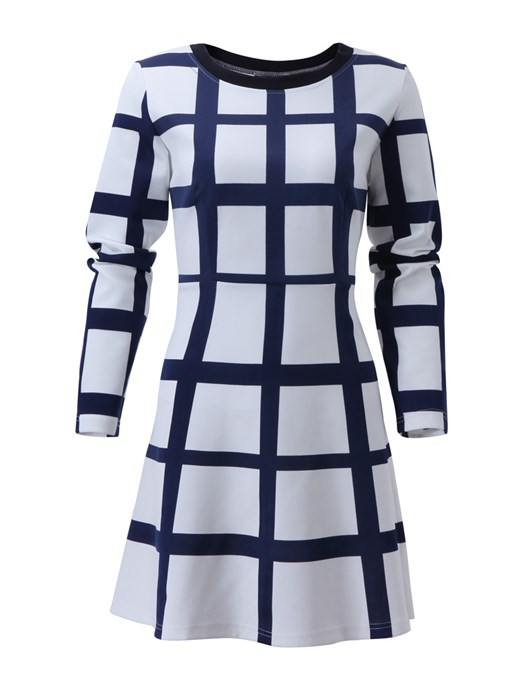 White Plaid Round Neck Long Sleeve Dress