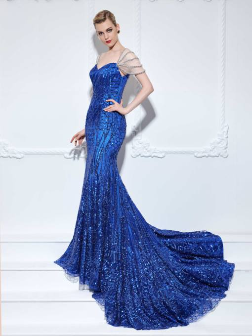 Beading Cap Sleeves Mermaid Sequins Evening Dress